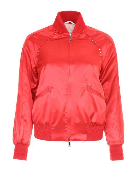 Valentino - Red Rockstud Bomber Jacket - Lyst