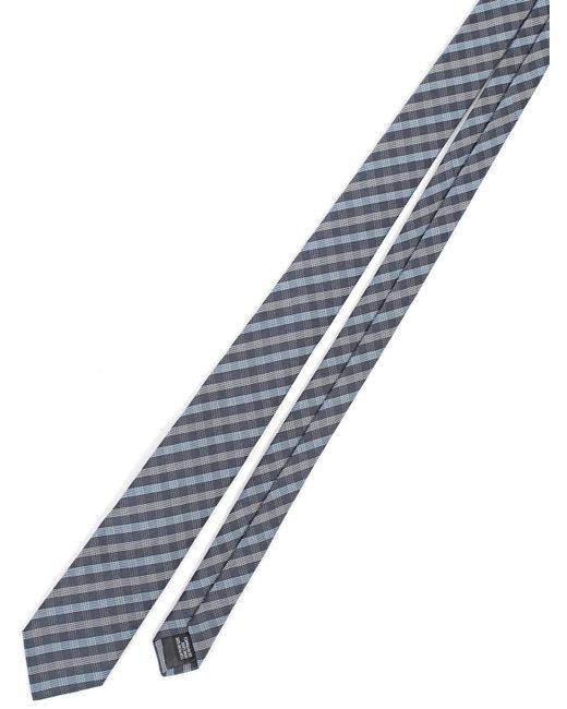Lanvin - Blue Silk Check Tie for Men - Lyst