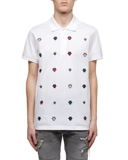 d339b860 Dior Homme Bee Embroidered Polo Shirt in White for Men - Lyst