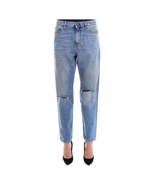 Saint Laurent - Blue Ripped Knee Loose Fit Jeans - Lyst