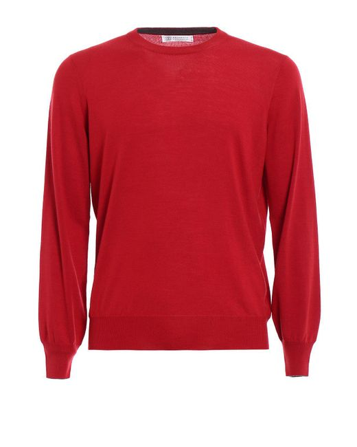 Brunello Cucinelli - Red Crewneck Sweater for Men - Lyst