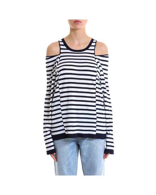 Alexander Wang - Blue Cold Shoulder Longsleeve Shirt - Lyst
