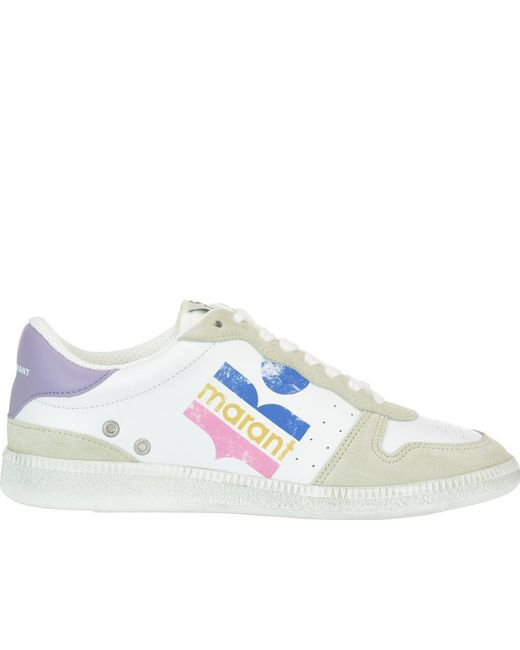 Isabel Marant White Bulian Leather And Suede Sneakers