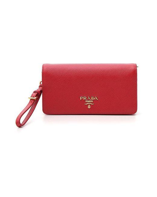 Prada Saffiano Chain Clutch Bag in Red - Save 3% - Lyst 500c85cd2faf3
