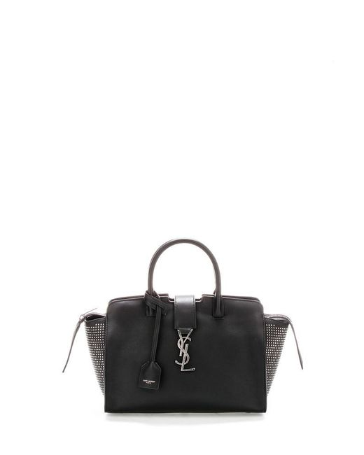 a06a55774122 Lyst - Saint Laurent Studded Downtown Monogram Cabas Bag in Black
