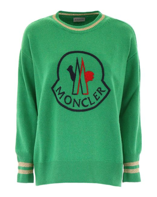 Moncler - Green Logo Embroidered Sweater - Lyst