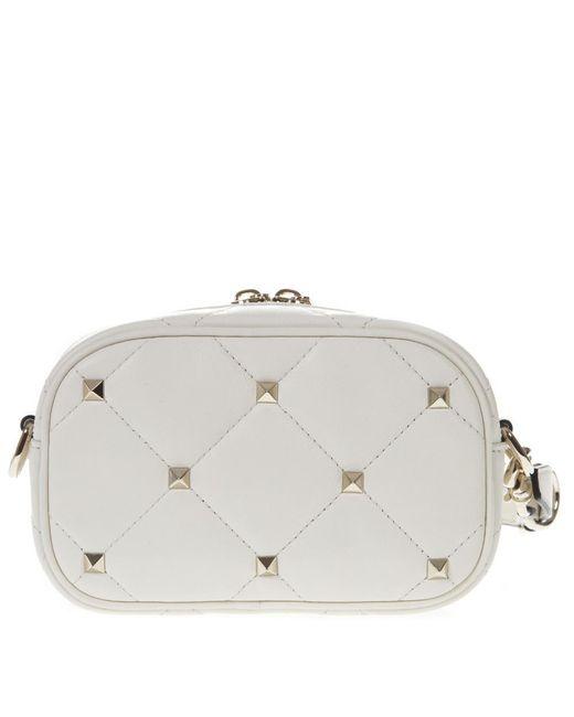 Valentino - White Garavani Rockstud Quilted Crossbody Bag - Lyst