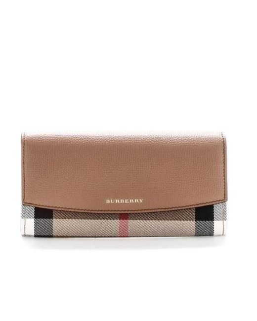 d38509a09a6 Burberry Check Logo Wallet in Brown - Lyst