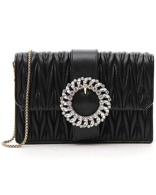e915058d70a67 Miu Miu Matelassé Shoulder Bag in Black - Lyst