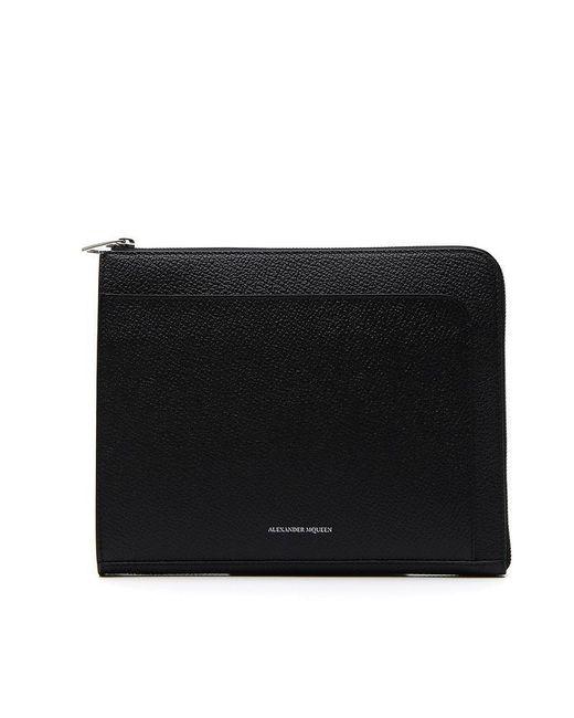 Alexander McQueen - Black Zip Wallet for Men - Lyst
