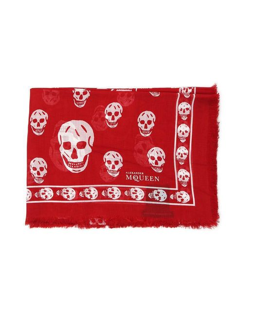 Alexander McQueen - Red Skull Scarf for Men - Lyst