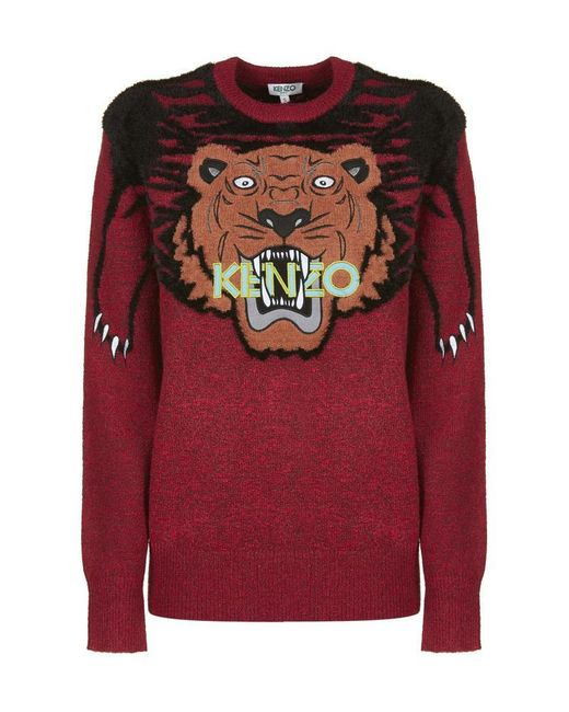 25060b3c18 KENZO Tiger Intarsia Sweater in Red - Save 34% - Lyst