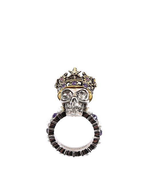 Alexander McQueen - Metallic Crowned Skull Ring - Lyst