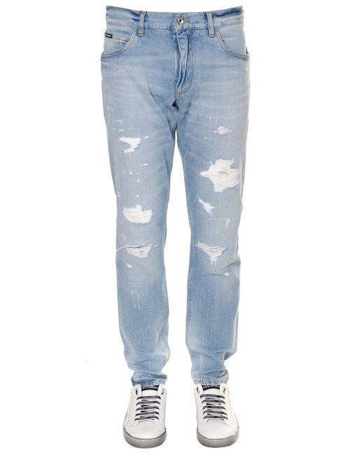 Dolce & Gabbana - Blue Distressed Straight-leg Jeans for Men - Lyst