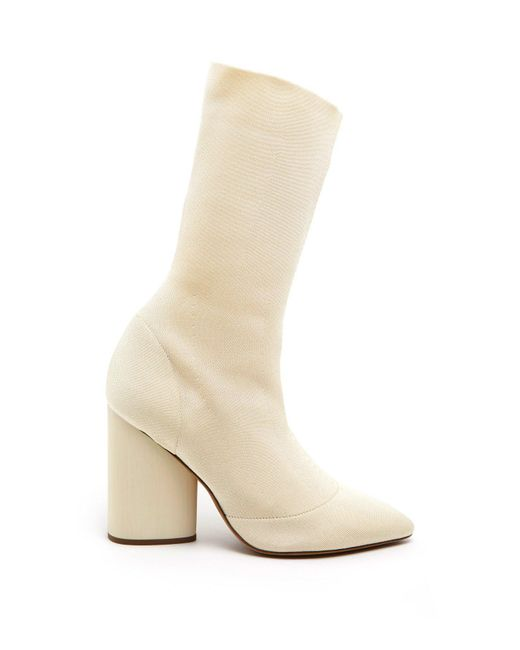f7204d047eb Yeezy Block Heel Sock Boots in Natural - Lyst