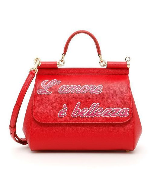 c7e161c0ea Dolce   Gabbana L amore Sicily Tote Bag in Red - Lyst