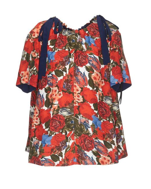 508c371434e9af Marni Floral Printed Blouse in Red - Save 45% - Lyst