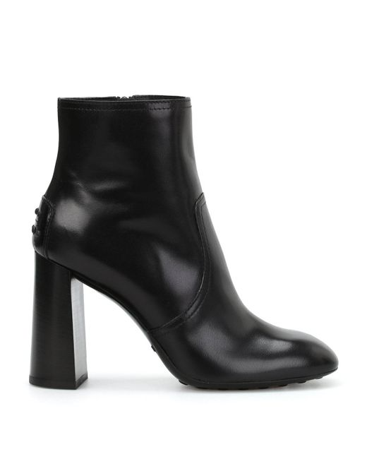 Tod's - Black Square Heel Leather Ankle Boots - Lyst