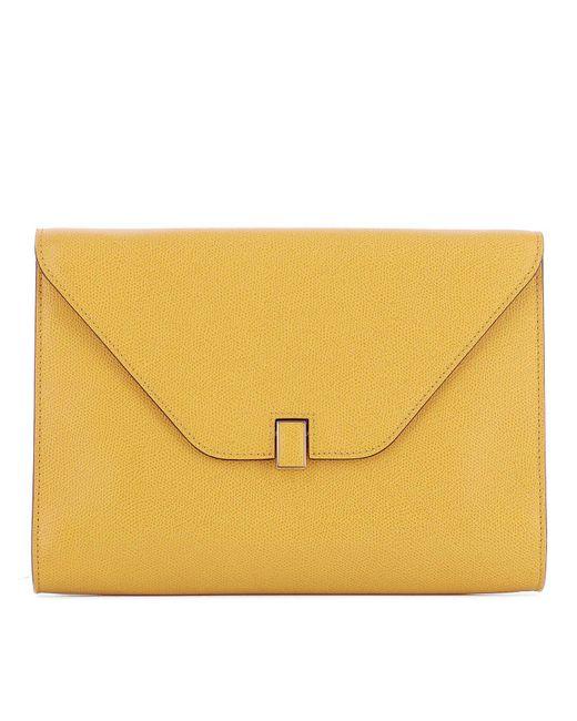 Valextra - Yellow Envelope Clutch Bag - Lyst