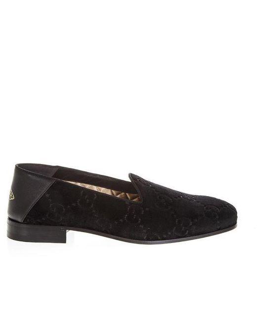 55ab16bca Gucci Velvet Monogram Loafers in Black for Men - Lyst