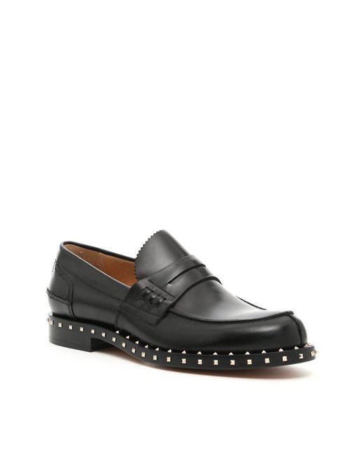 Valentino - Black Garavani Rockstud Penny Loafers for Men - Lyst