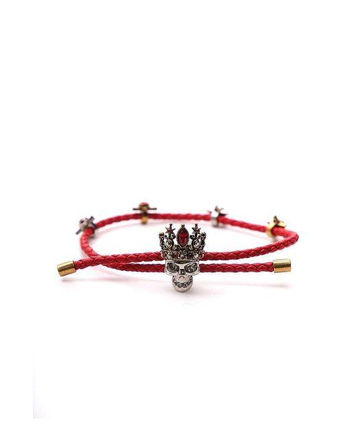 Alexander McQueen - Red Woven Skull Friendship Bracelet - Lyst