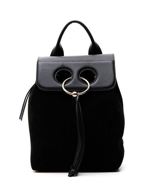 J.W. Anderson - Black Suede Pierced Backpack - Lyst