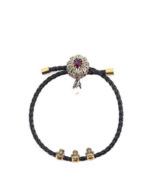 Alexander McQueen - Black Skull Embellished Bracelet - Lyst
