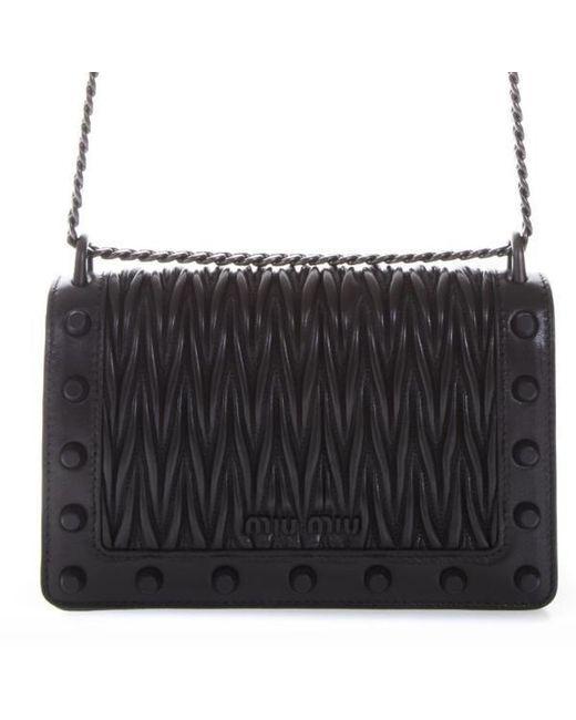 62cc522872d8 Lyst - Miu Miu Matelassé Studded Shoulder Bag in Black