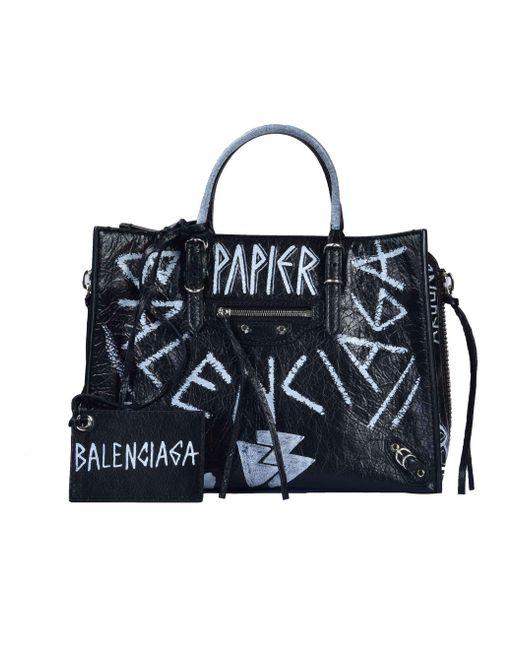 Balenciaga - Black Papier Graffiti Tote - Lyst