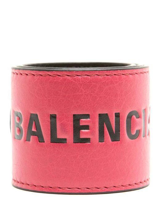 Balenciaga - Pink Branded Cuff Bracelet - Lyst