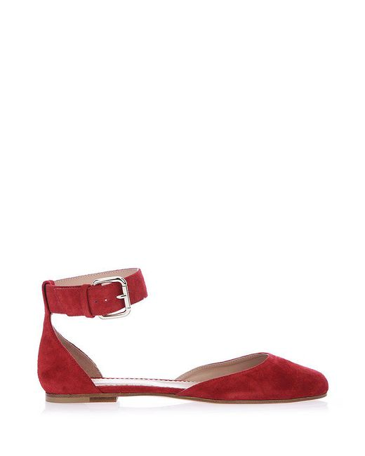 RED Valentino - Red Ankle Strap Leather Ballerinas - Lyst