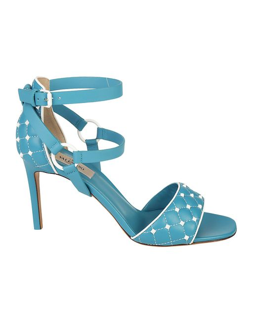 Valentino - Blue Garavani Rockstud Quilted Sandals - Lyst