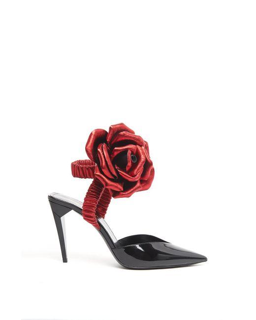 Saint Laurent - Black Flower Ankle Tie Sandals - Lyst