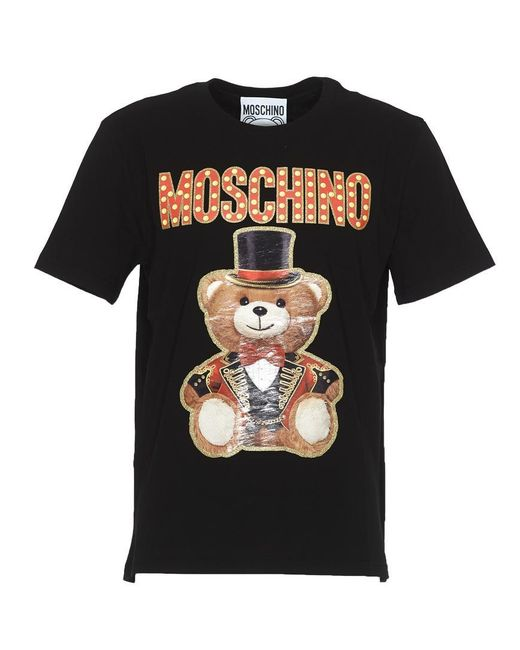 c23c4210 Moschino Black Ring Leader Bear T-shirt in Black for Men - Save 65 ...
