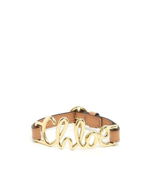 Chloé - Brown Logo Bracelet - Lyst