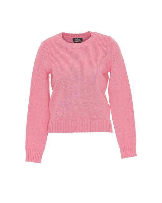 A.P.C. - Pink Crew Neck Sweater - Lyst
