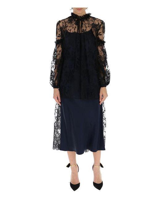 Alexander McQueen Black Sheer Lace Maxi Dress