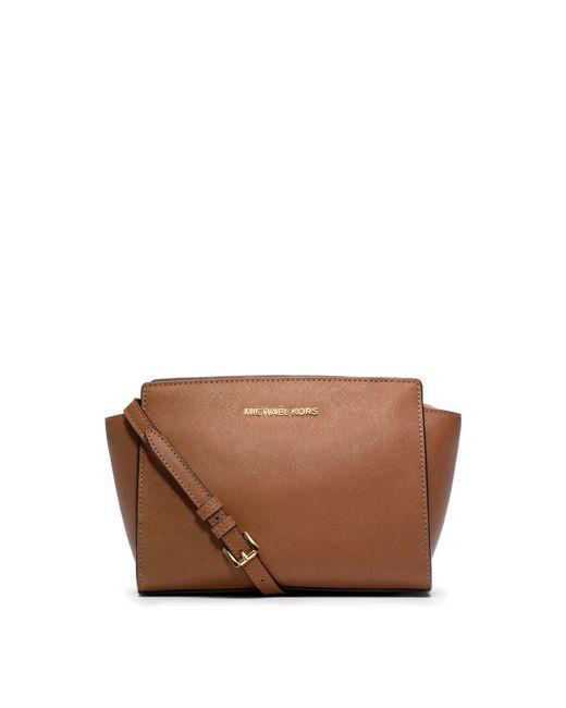 Michael Kors   Brown Selma Medium Saffiano Leather Messenger   Lyst