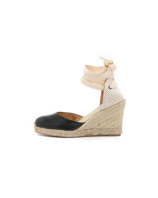 Soludos | Black Leather Tall Wedge Espadrilles | Lyst
