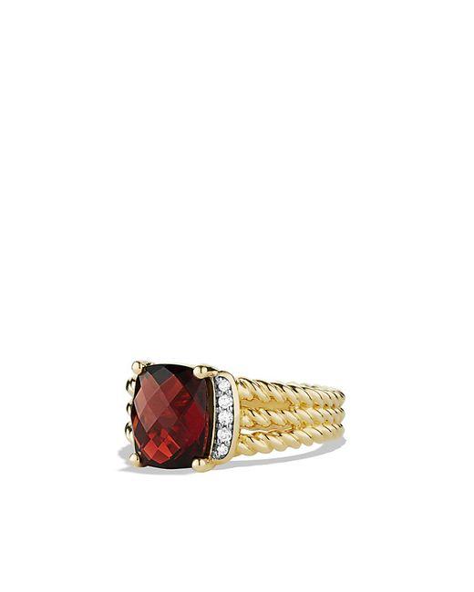 David Yurman   Yellow Petite Wheaton Ring With Garnet And Diamonds In 18k Gold   Lyst