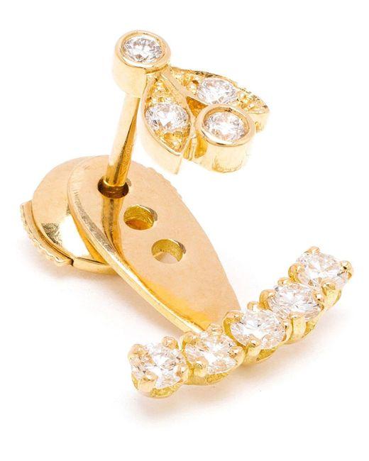 Yvonne Léon | Metallic 18kt Gold And Five Diamond Lobe Earring | Lyst