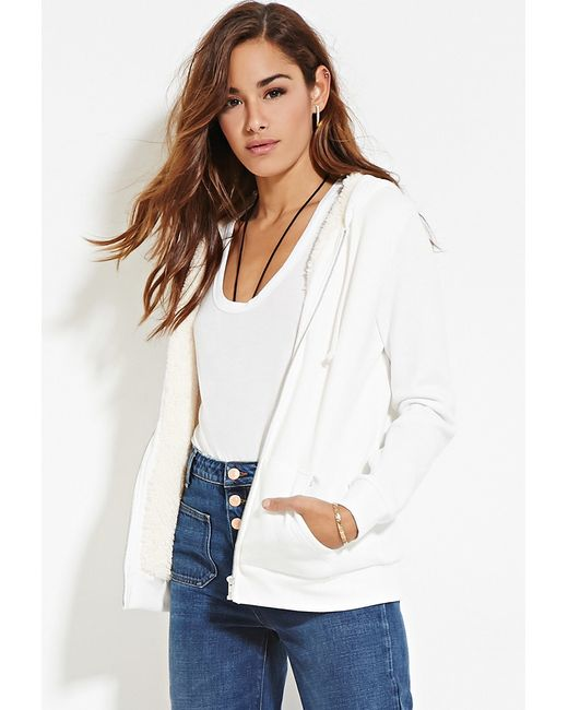Forever 21 | White Zippered Plush Hoodie | Lyst