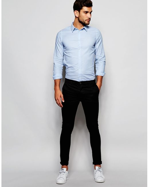 French connection plain oxford shirt in blue for men for French blue oxford shirt