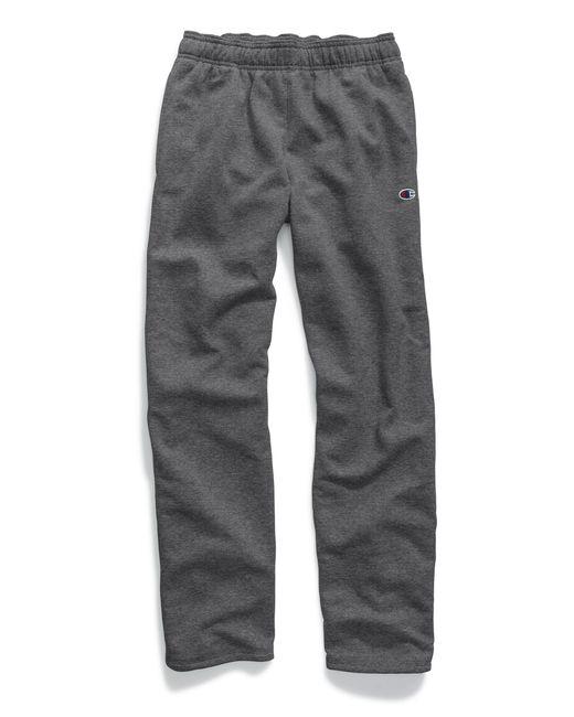 Champion Gray Powerblend® Fleece Open Bottom Pants for men