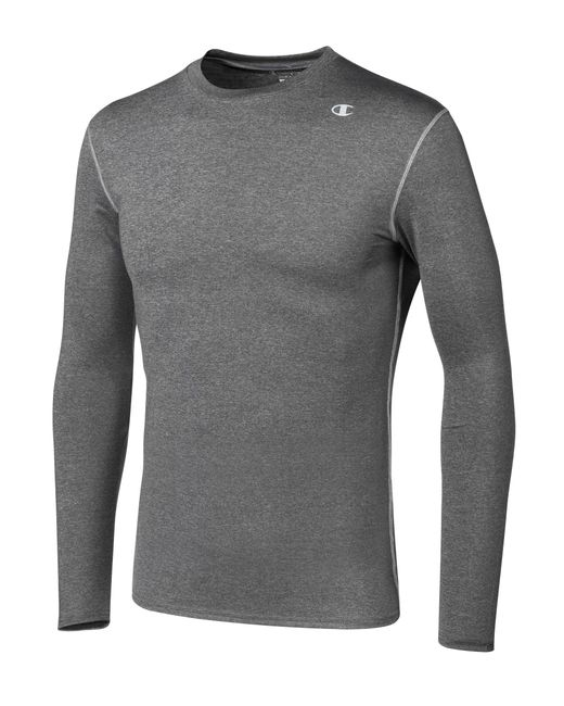 873fed37c81c Champion - Gray Double Dry® Long-sleeve Compression T Shirt for Men - Lyst  ...