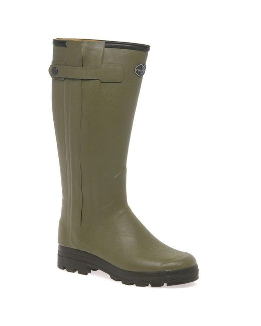 Le Chameau - Green Chasseur Cuir Mens Leather-lined Wellingtons for Men - Lyst
