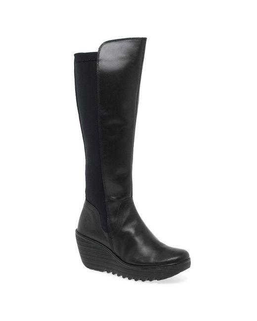 f565d7f63720 Fly London - Black Yeve Womens Long Leather Neoprene Wedge Heel Boots -  Lyst ...