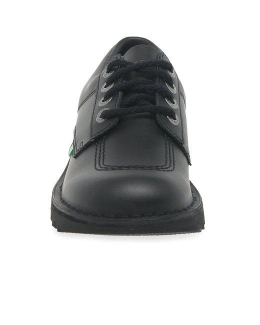 37643f0be15ee ... Kickers - Black Kick Lo Mens Leather Lace Up Metal Eyelet Shoes for Men  - Lyst ...