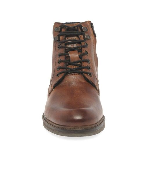 4aa2697edabd39 ... Bugatti - Brown Ringo Ii Mens Cognac Leather Lace Zip Ankle Boots for  Men - Lyst ...